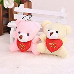 2 Pieces Colorful Sweet I LOVE YOU Sitting Bear With Red Heart Baby Plush Stuffed Doll Toys,For Wediing House Car Decoration,