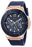 ゲス GUESS Men's U0247G3 Rigor Blue & Rose Gold-Tone Silcone Casual Sport Watch 男性 メンズ 腕時計 【並行輸入品】