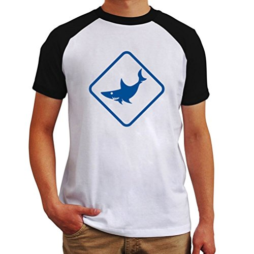 Shark Animal Silhouette Raglan T-Shirt (Shark Silhouette compare prices)