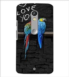 PrintDhaba Love Birds D-3216 Back Case Cover for MOTOROLA MOTO X PLAY (Multi-Coloured)