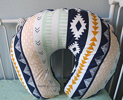 Soren by Angelique Arizona Aztec Nursing Pillow Cover Tribal Navy/Mint/Gold