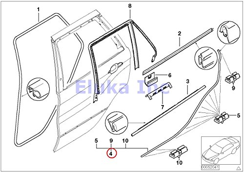 BMW Genuine Rear Left Lower Door Trim Weatherstrip Seal With Clips X5 3.0i X5 4.4i X5 4.6is X5 4.8is (X5 Door Seal compare prices)