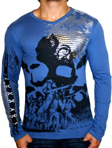 SMET Christian Audigier Ed Hardy Mens Fashion Graphic Long Sleeve V-Neck T-Shirt Tee Top