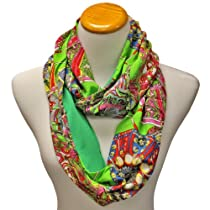 Luxury Divas Green Multi Color Bohemian Print Lightweight Infinity Circle Scarf