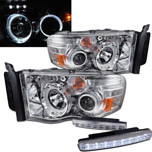 2004 Dodge Ram 1500 Halo Headlights Projector + 8 Led Fog Bumper Light