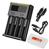 Nitecore i4 2016 New Intellicharger Charger with AC and Car Power Adapter and Lumen Tactical Battery Organizer for Li-ion / IMR / Ni-MH/ Ni-Cd 26650 22650 18650 18490 18350 17670 17500 17335 16340 RCR123 14500 10440 AA AAA AAAA C D types