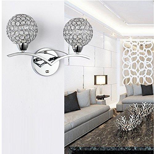 Cristal Applique Murale AC 220V, Culot E14, Double Balle Moderne Luminaire Mural, pour Couloir, Escaliers, Salon(Argent Coquille)