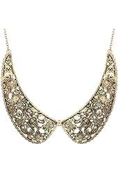 Yazilind Elegant Bronze Alloy Cinnamon Stitching False Collar Choker BIB Necklace 19in