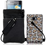 SAMSUNG GALAXY S2 4 PC LUXURY GIFT ACCESSORY PACK - LEOPARD SPOTS DESIGN DIAMANTE CASE / COVER / SHELL / SHIELD + SCREEN PROTECTOR + POUCH CASE + CAR CHARGER PART OF THE QUBITS ACCESSORIES RANGE