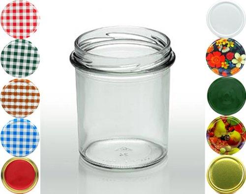 Cap+Cro - 160 x Bocal de conservation verre - 350 ml (11.8 oz) - couleur couvercle: quadrillée rouge-blanc