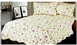 Purple Pink Flower King Bedspread - Purple Pink Flower King Cotton Bedspread And Pillowcases (3pcs Quilt Set)