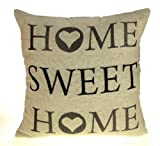 "Home Sweet Home Cushion Cover, Exclusive Vintage Retro Design by Ideal Textiles, 18"" x 18"", 45cm x 45cm"