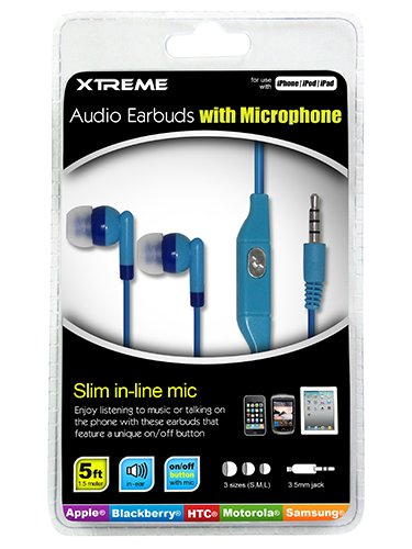 Xtreme Audio Earbuds With Microphone - Retail Packaging - Blue