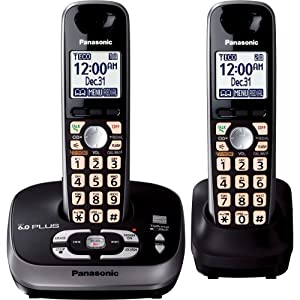 Panasonic KX-TG4032B DECT 6.0 PLUS Expandable Digital Cordless Phone with Answering System, Black, 2 Handsets