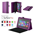 Elsse Premium Folio Case with Stand for Microsoft Surface Pro & Surface Pro 2 (Does not fit Windows 8 RT Version) (Purple)