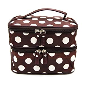 Amazon.com: Dedc Double Layer Cosmetic Bag Coffee With White Dot Travel Toiletry Cosmetic Makeup Bag Organizer With Mirror: Beauty