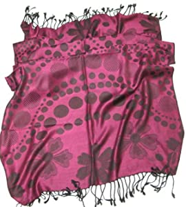 Lovarzi Womens Magenta Pink Pashmina Scarf  Polka Dot Floral Scarves for Ladies and Girls