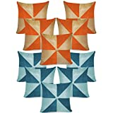 Gig Design Cushion Covers Combo Beige,Orange/Blue,Sky Blue 40 X 40 Cms(10 Pcs Set)