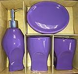 4 Piece Ceramic Bath Ensemble - Solid Colors (Purple)
