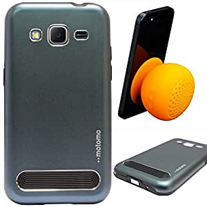 DMG Motomo Ultra Tough Metal Shell Case with Side TPU Protection for Samsung Galaxy Core Prime G360H (Gun Metal) + Waterproof Bluetooth Suction Stand Speaker