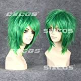 CXCOS WK554-4 NARUTO -ナルト- ゼツ 風 ショート コスプレ ネット付 ウィッグ 耐熱 通用 グリーン 緑