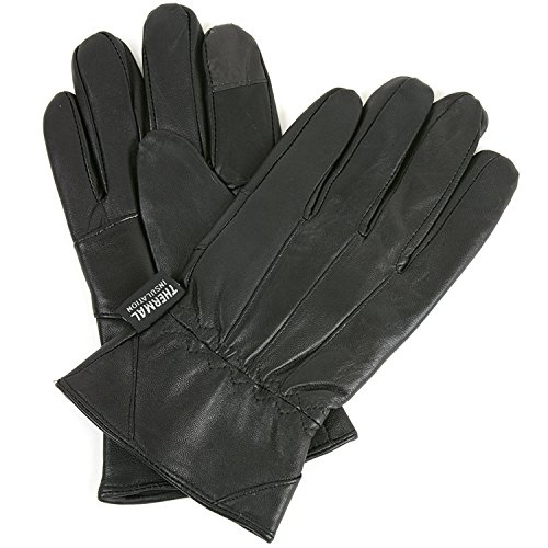 Mens Leather Smartphone Dress Gloves for Touch Screen iPhone Android Tablet 2XL (Black) Genuine Leather Gauntlet Gloves