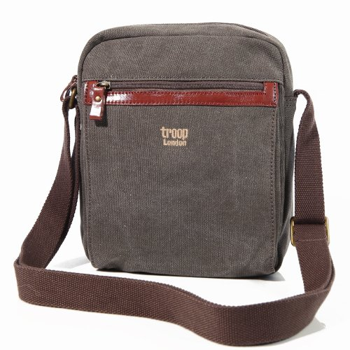 Troop London Brown Canvas Unisex Airport Travel Messenger Shoulder Bag(0218Brown)