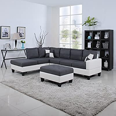 Classic Two Tone Large Linen Fabric and Bonded Leather Living Room Sectional Sofa