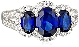 Sterling Silver Created Blue Sapphire and Created White Sapphire Ring, Size 7 by Verigold Jewelry Co, Gem Division