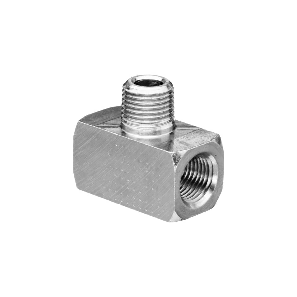 Polyconn PC132NB 2 Nickel Plated Brass Pipe Fitting, Branch Tee, 1/8 NPT Male x 1/8 NPT Female (Pack of 10)