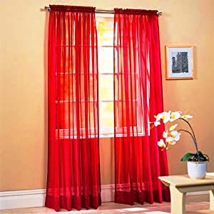 "SET OF 2, 84"" LONG RED SHEER VOILE CURTAINS / TAILORED CURTAIN PANELS, 60"" WIDE"