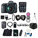 Canon EOS 6D 20.2 MP Full-Frame CMOS Digital SLR with 24-105mm f 4.0L IS USM AF Lens + LP-E6 Replacement Li-on Battery + Rapid Travel Charger + 32GB SDHC Class 10 Memory Card + 58mm Macro Close Up Kit + 58mm Wide Angle Lens + 58mm 2.2x Telephoto Lens + 58mm 3 Piece Filter Kit + 58mm UV Filter + Digital Carrying Case + Full Size Tripod + External Flash + Universal Wireless Remote + Mini HDMI Cable + Memory Card Wallet + SDHC Card USB Reader Bundle