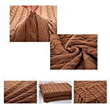 Prosshop Crocheted Blanket Handmade Super Soft Warm Twist Cotton Cable Knitting Throw Sleeping Cover Blanket Rug for Kids or Adults Bedroom Sofa/Bed/Couch/Car/ Quilt Living Room/ Office (Coffee)