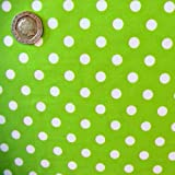 Bright Green 7mm Polka Dot Fabric 1 Metre 100 % Cotton Spotty.