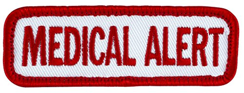 MEDICAL ALERT (White/Red) Sew-On Service Dog Embroidered Patch – 3″ X 1″