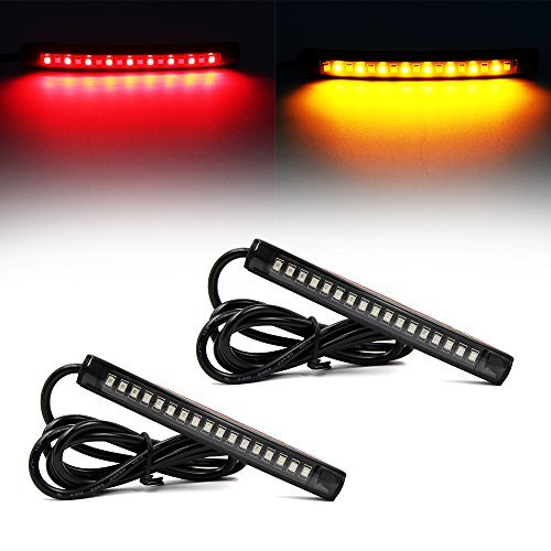 Purishion 2x Universal Flexible LED Turn Signal Tail Brake License Plate Light Integrated for Motorcycle Bike ATV Car RV SUV, Brake/Running Tail Light(2Pack) (Amber Red) (Small Led Trailer Lights compare prices)