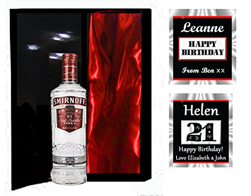 Smirnoff discount duty free SMIRNOFF VODKA in personalised luxury satin lined magnetic box. Any birthday or other occasion. PLEASE REMEMBER TO EMAIL YOUR PERSONAL NAME AND MESSAGE. asap