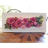 パラボッセオリジナル 壁掛け プリザーブドフラワー レクタングル ピンク ケース入 横幅33cmx10cmx高さ15cm preserved flowers