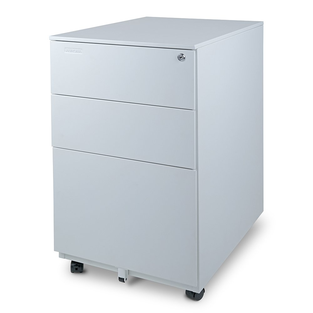 Aurora Modern SOHO Design 3-Drawer Metal Mobile File Cabinet with Lock Key Fully Assembled, White (FC-103WT)