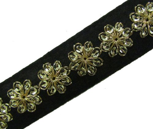 1 Y Thin Black Base Sequin Ribbon Trim Border Lace Craft Sewing New