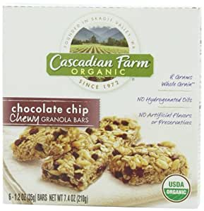 Cascadian Farm Organic Chewy Granola Bars, Chocolate Chip, 6 - 1.2 Ounce Bars (Pack of 6)