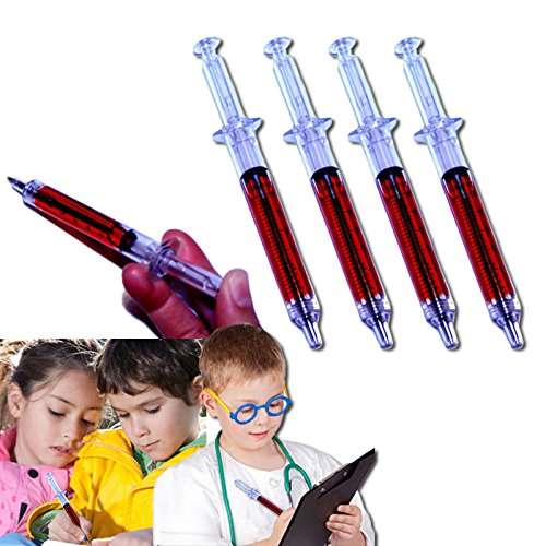 Dazzling Toys Novelty Fake Needle Syringe Pens - Halloween Costume Accessory - Pack of 24