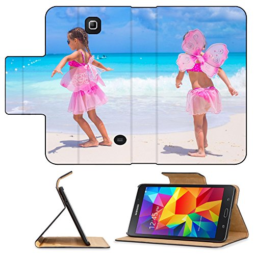 [Luxlady Premium Samsung Galaxy Tab 4 7.0 Inch Flip Pu Leather Wallet Case IMAGE ID: 34567033 Little girls with butterfly wings have fun beach summer] (Gumdrop Fairy Costume)