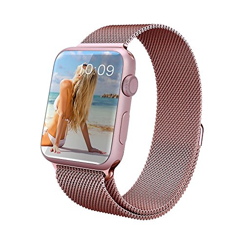 GEOTEL Apple Watch Band, GEOTEL® 38mm Milanese Loop Stainless Steel Bracelet Strap Band for Apple Watch 38mm All Models with Unique Magnet Lock(No Buckle Needed) (Rose Gold)