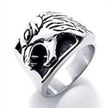buy Mens Rings Stainless Steel Biker Retro Tiger Black Silver 17Mm Size 11 By Aienid