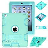 iPad 4 Case,iPad 3 Case AMCHOICE(TM) Full Body Hybrid Silicone&PC 3 Layer High Impact Resistant Armor Defender Cover For Apple iPad 2//3/4 (Mint Green+Blue) [Free Stylus]