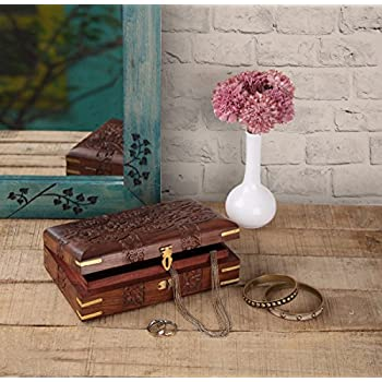 storeindya, Handmade Wooden Jewelry Box - Keepsake Box - Storage Organizer Multipurpose Box - Treasure Chest - Trinket Holder for Women Men Girls (Floral Divine Collection)