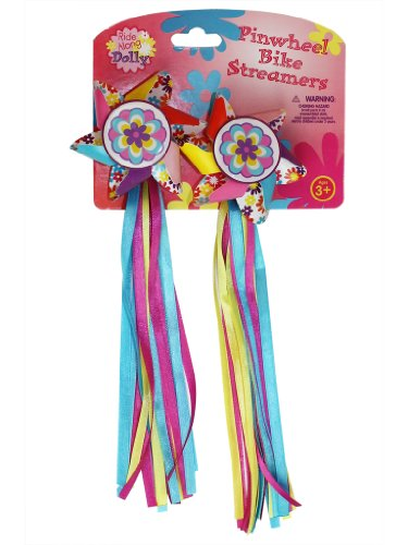 Bike Handlebar Streamers - Kid's Bicycle Pinwheel Streamers - Easy Attachment to Cycle's Handlebars