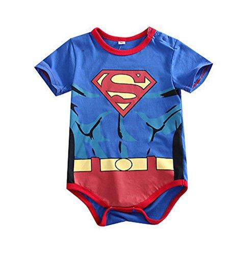 Rush Dance One Piece Super Hero Baby Superman Romper Onesie Suit (90 (9-18M), Red & Blue Muscle)