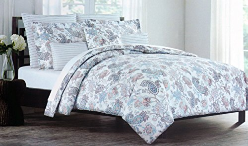 Cynthia Rowley Bedding 3 Piece Full / Queen Duvet Cover Set Floral Paisley Pattern in Shades of Pink Blue Gray
